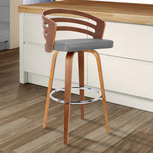 Armen living Jayden 26' Mid-Century Swivel Counter Height Barstool in Grey Faux Leather with Walnut Veneer