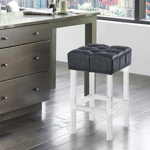 Armen Living Kara Contemporary 26' Counter Height Barstool in Grey Faux Leather with Acrylic Legs