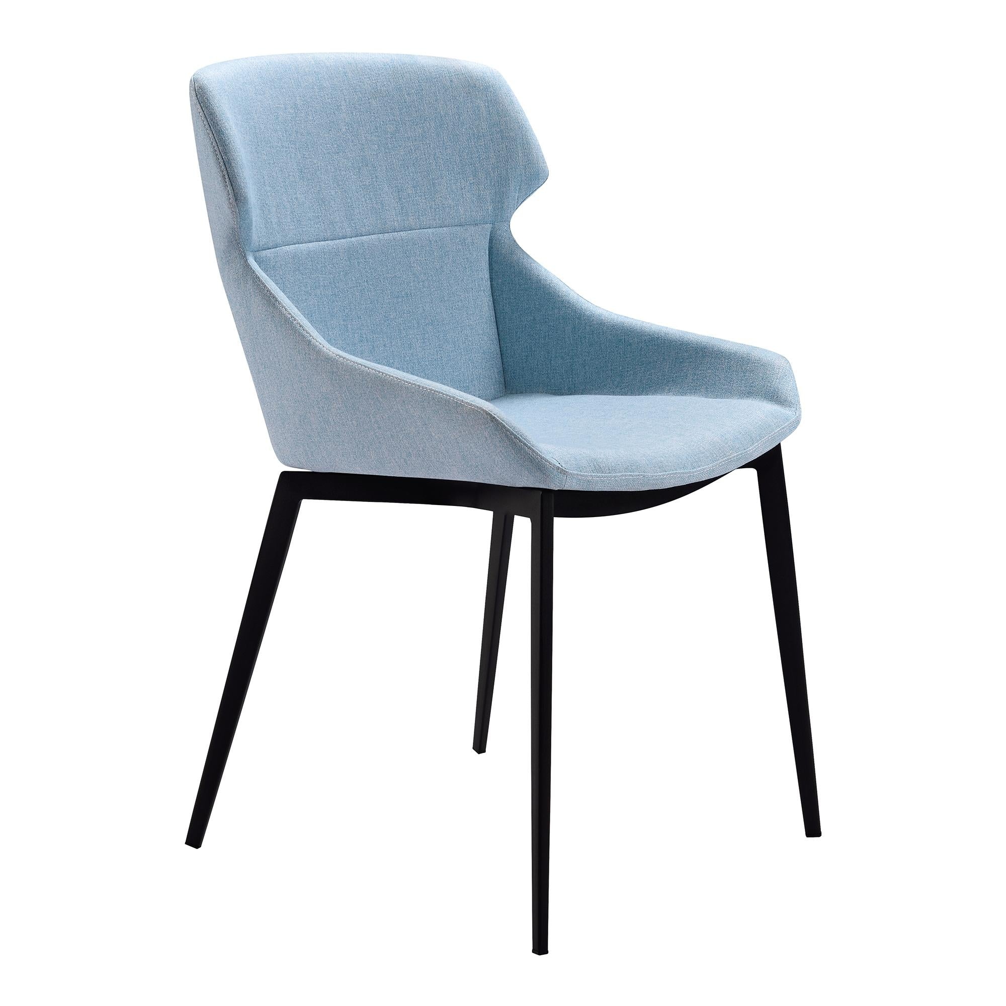 Kenna Modern Dining Chair in Matte Black Finish and Blue Fabric - Set of 2