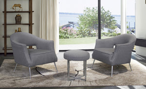 Armen Living Lyric Contemporary Accent Chair in Brushed Stainless Steel Finish with Grey Fabric