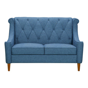 Luxe Mid-Century Loveseat in Champagne Wood Finish and Blue Fabric