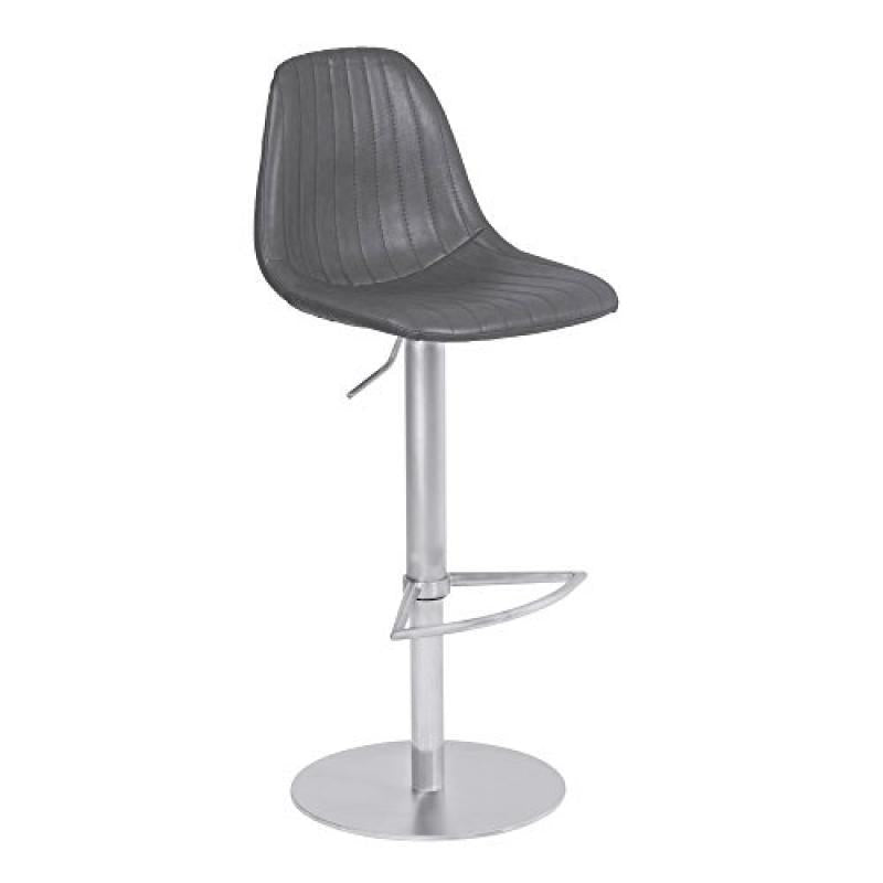 Armen Living Melrose Adjustable Metal Barstool in Vintage Gray Faux Leather with Brushed Stainless Steel Finish