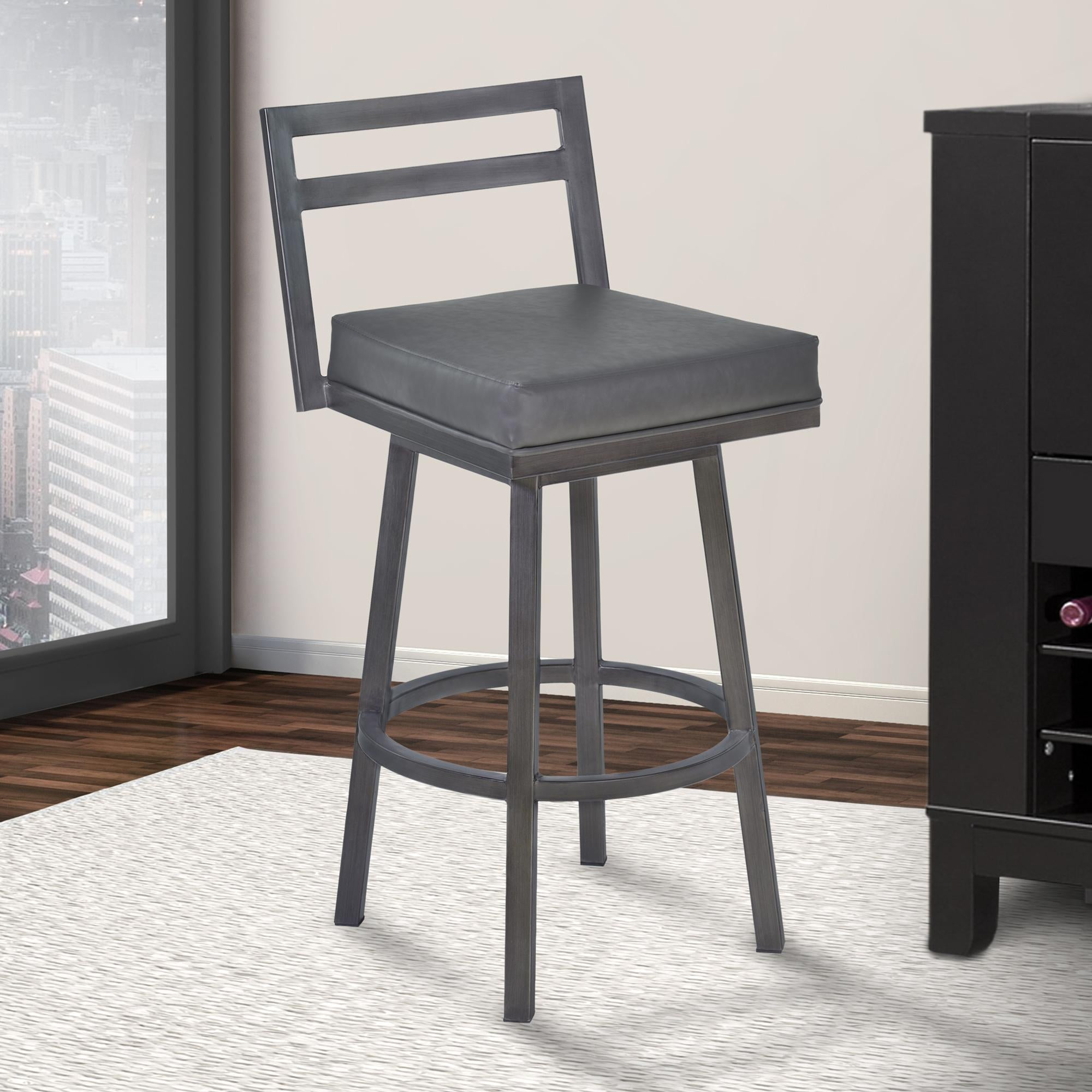Armen Living Moniq 26' Counter Height Metal Swivel Barstool in Vintage Grey Faux Leather and Mineral Finish