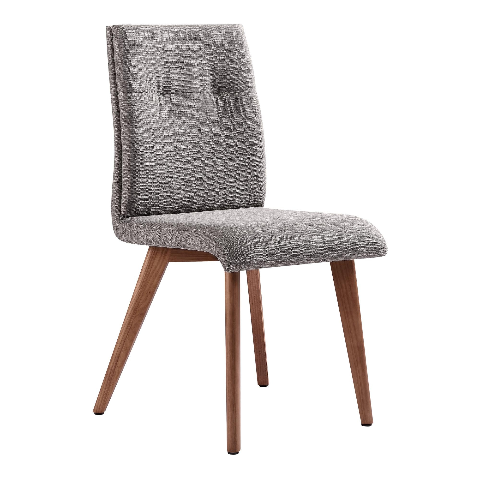 Noble Mid-Century Dining Chair in Walnut Finish and Gray Fabric - Set of 2