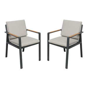 Armen Living Nofi Outdoor Patio Dining Chair in Gray Finish with Taupe Cushions and Teak Wood Accent Arms - Set of 2