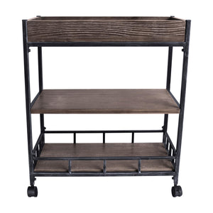 Niles Industrial Kitchen Cart in Industrial Grey and Pine Wood