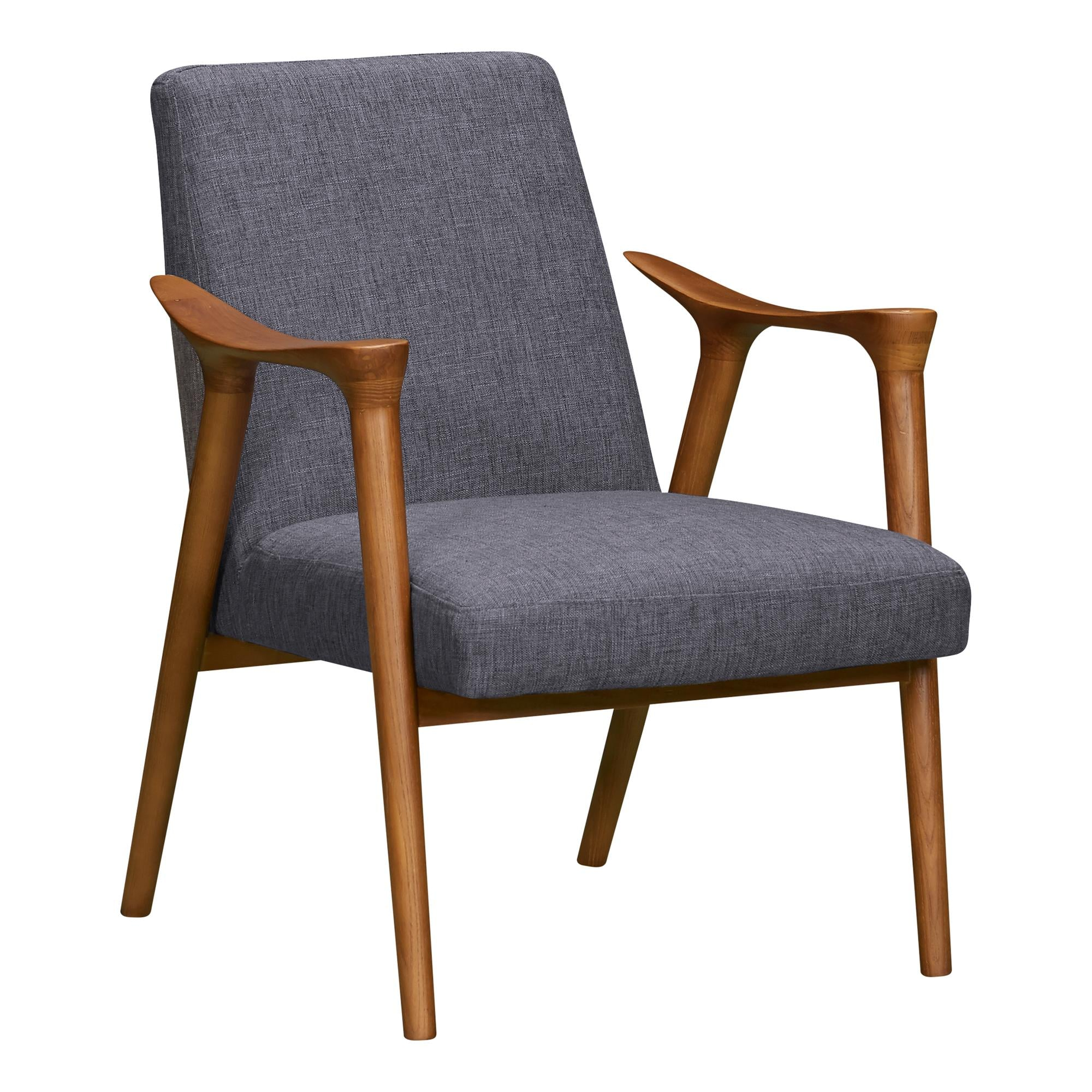 Nathan Mid-Century Accent Chair in Champagne Ash Wood Finish and Dark Grey Fabric