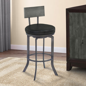 Armen Living Ojai 30' Bar Height Metal Swivel Barstool in Vintage Black Faux Leather with Mineral Finish and Gray Walnut Wood Back