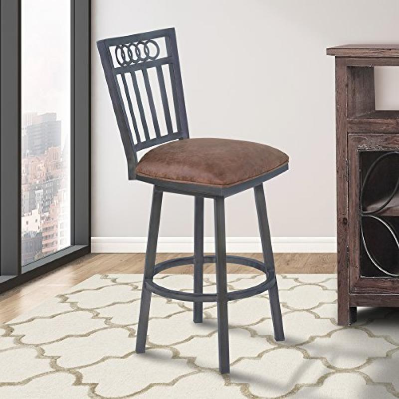 Armen Living Olympia 26' Counter Height Metal Swivel Barstool in Bandero Tobacco Fabric and Mineral Finish