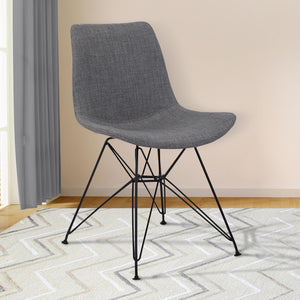 Armen Living Palmetto Contemporary Dining Chair in Charcoal Fabric with Black Metal Legs