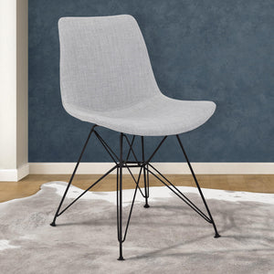Armen Living Palmetto Contemporary Dining Chair in Grey Fabric with Black Metal Legs