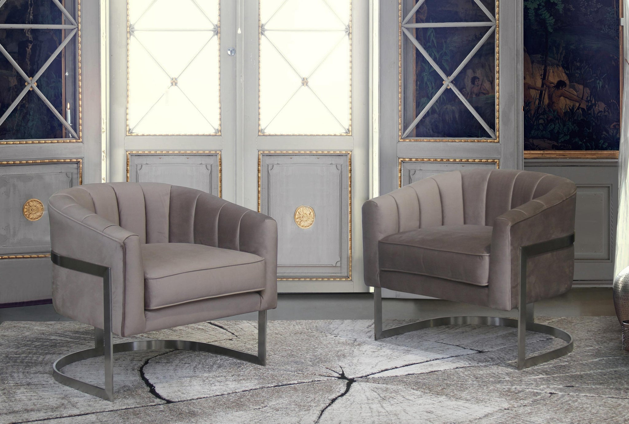 Armen Living Paloma Contemporary Accent Chair in Brushed Stainless Steel Finish with Beige Fabric