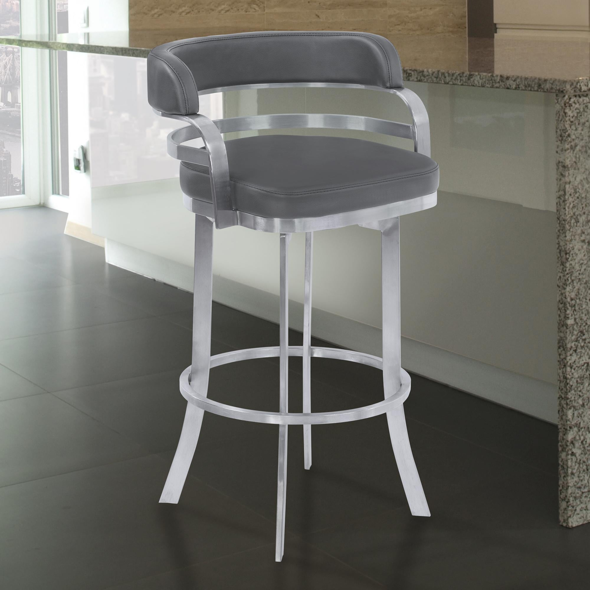 Armen Living Prinz 30' Bar Height Metal Swivel Barstool in Gray Faux Leather with Brushed Stainless Steel Finish