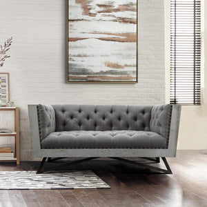 Armen Living Regis Contemporary Loveseat in Grey Fabric with Black Metal Finish Legs and Antique Brown Nailhead Accents