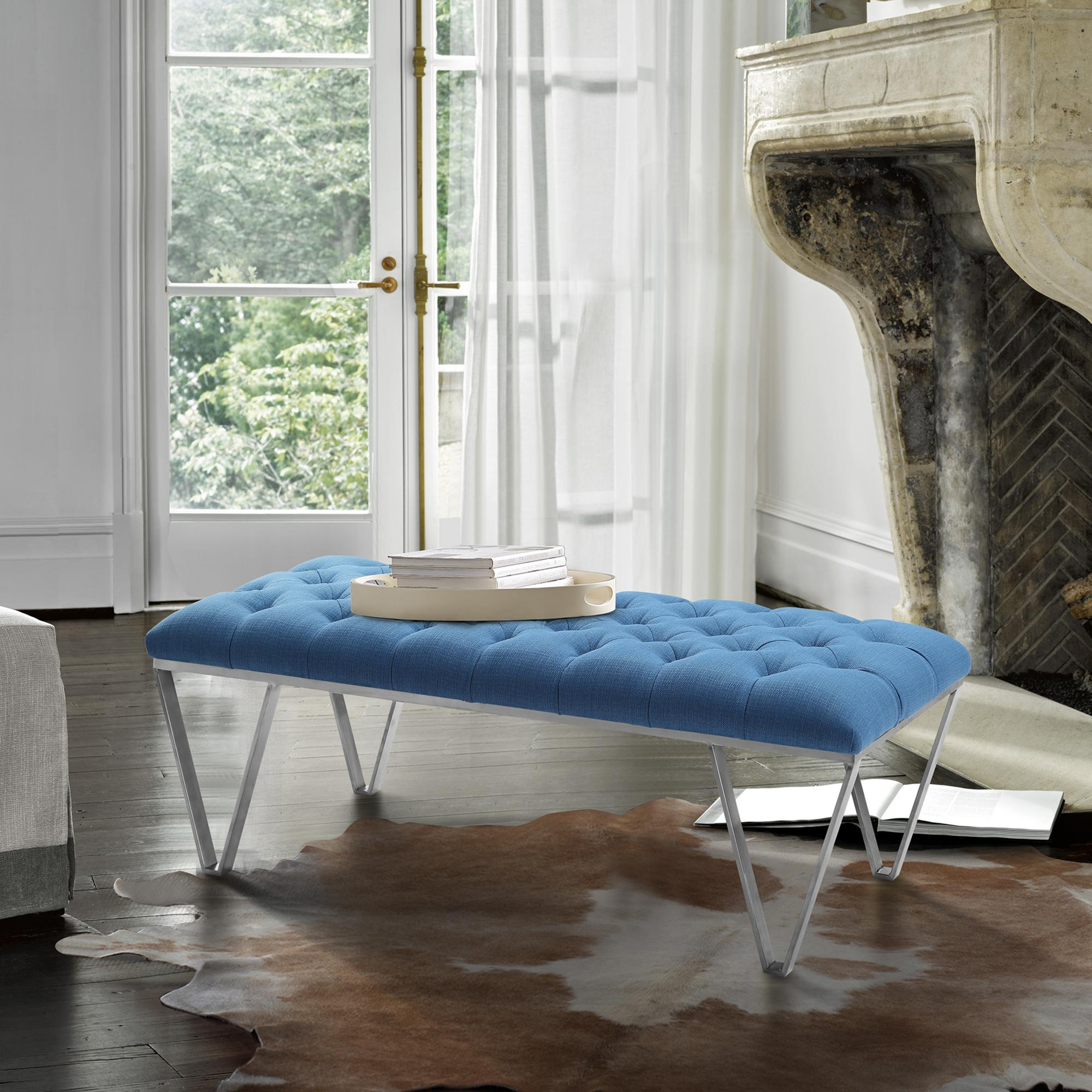 Armen Living Serene Contemporary Tufted Bench in Brushed Stainless Steel with Blue Fabric
