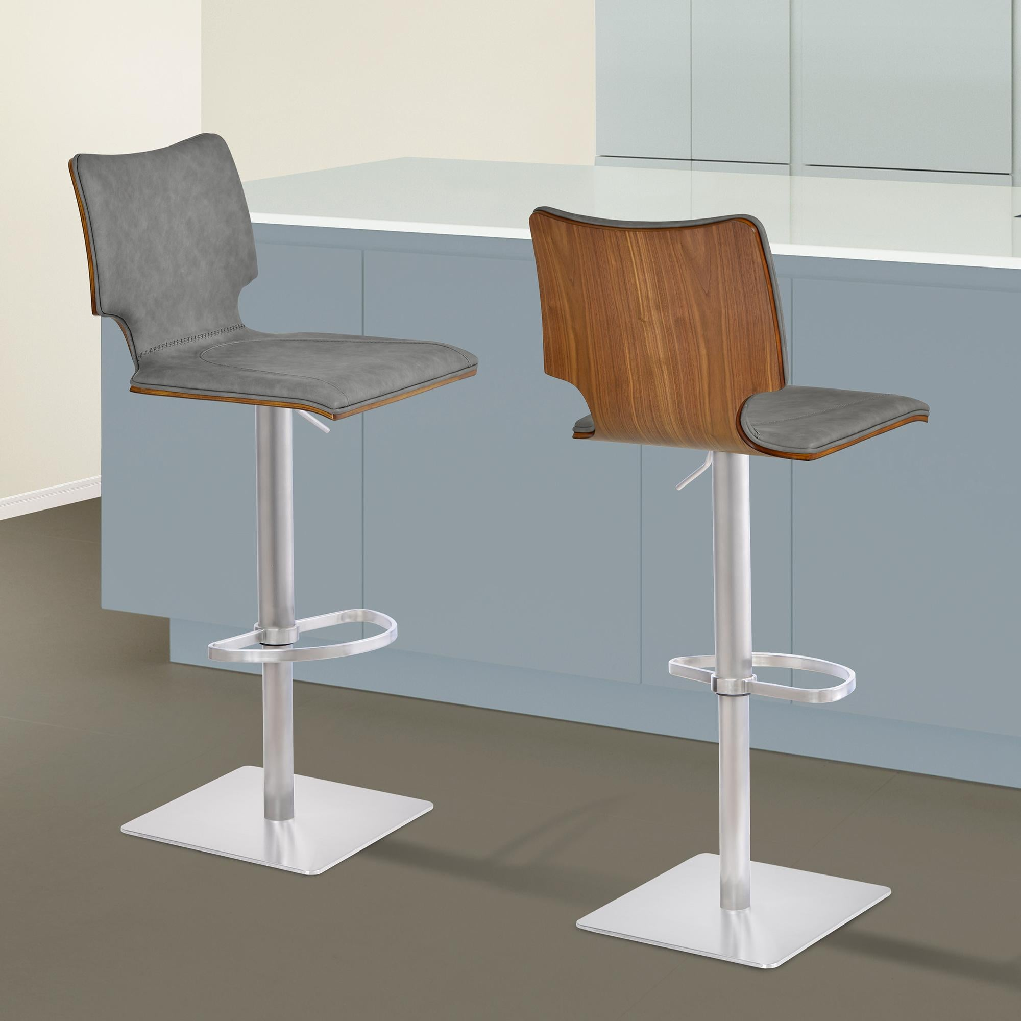 Armen Living Sydney Adjustable Barstool in Brushed Stainless Steel with Vintage Grey Faux Leather and Walnut Wood Back
