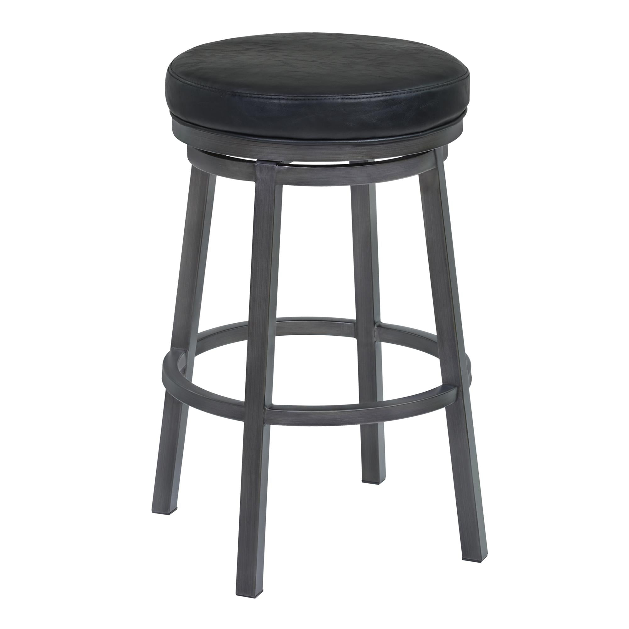 Armen Living Tilden 30' Bar Height Metal Swivel Backless Barstool in Ford Black Faux Leather and Mineral Finish