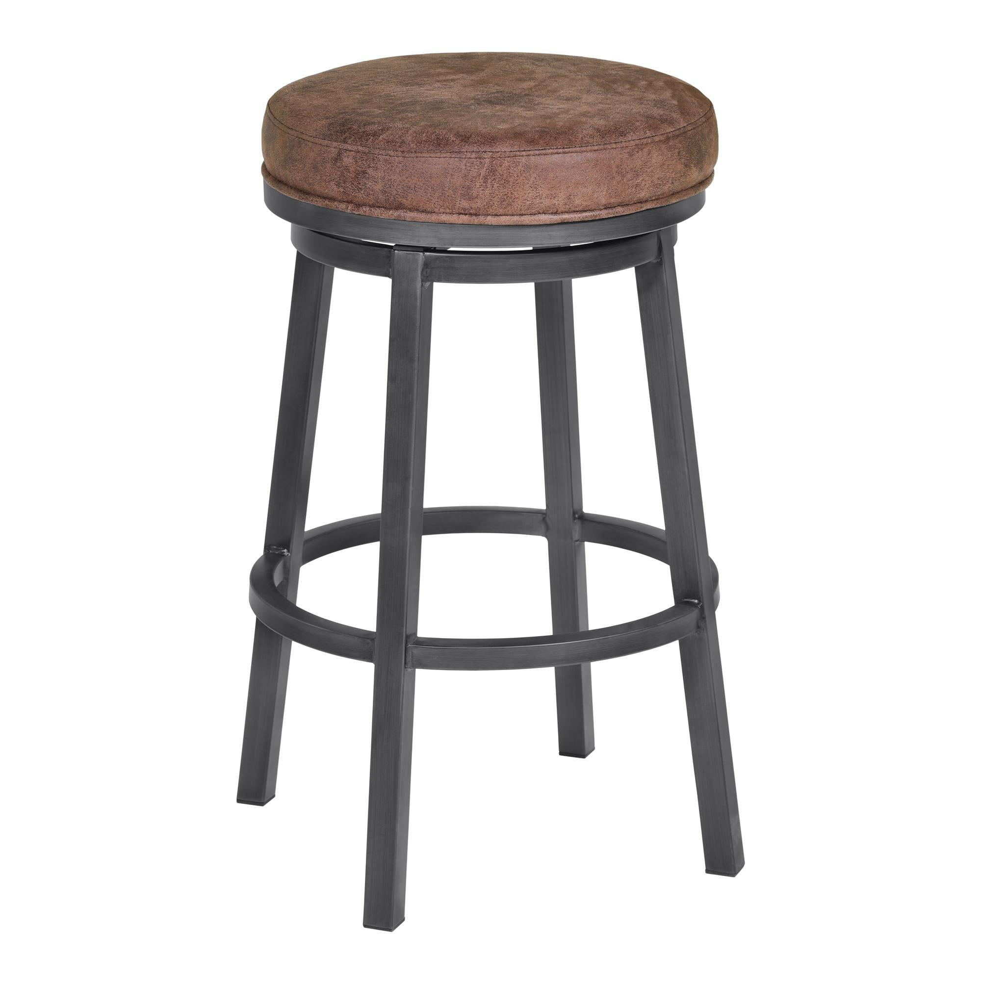 Armen Living Tilden 30' Bar Height Metal Swivel Backless Barstool in Bandero Tobacco Fabric and Mineral Finish