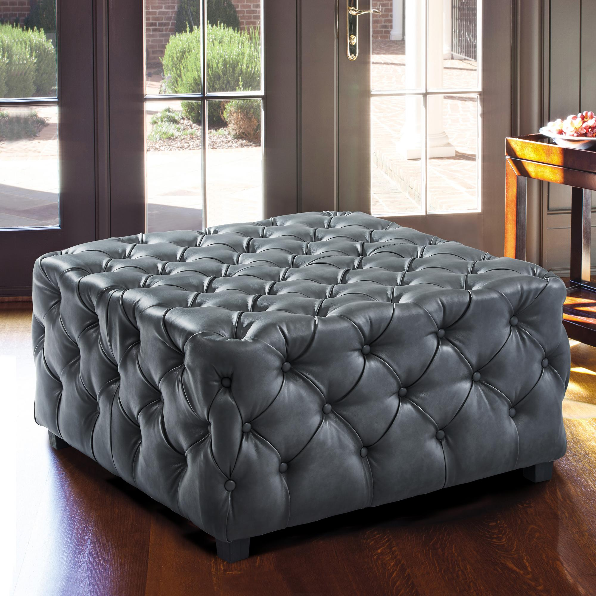 Armen Living Taurus Contemporary Ottoman in Grey Faux Leather with Wood Legs