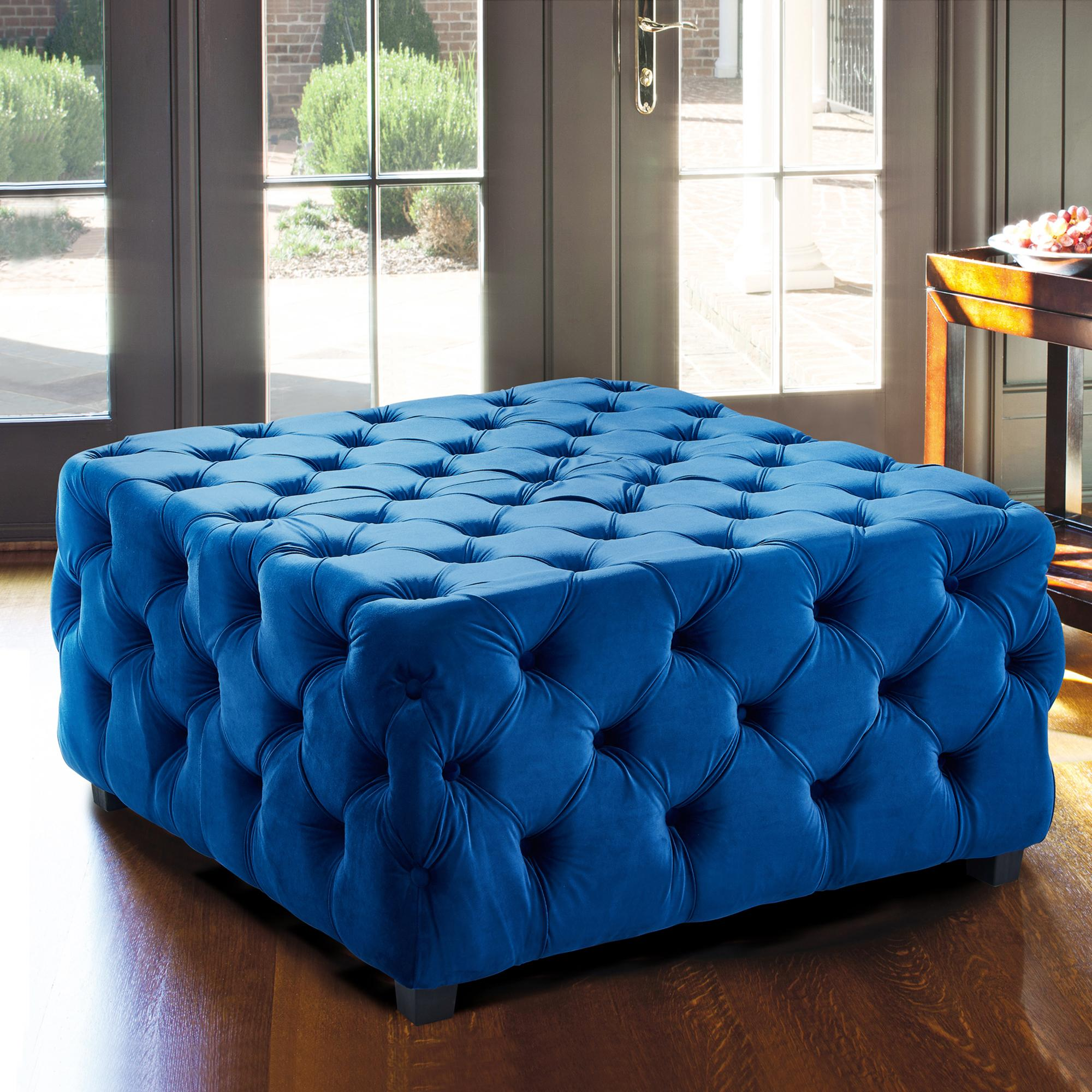 Armen Living Taurus Contemporary Ottoman in Blue Velvet with Wood Legs