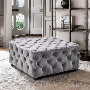 Armen Living Taurus Contemporary Ottoman in Grey Velvet with Wood Legs