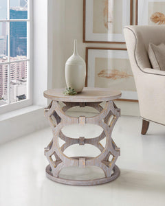 Armen Living Tuxedo Round End Table with Gray Finish and Gray Top