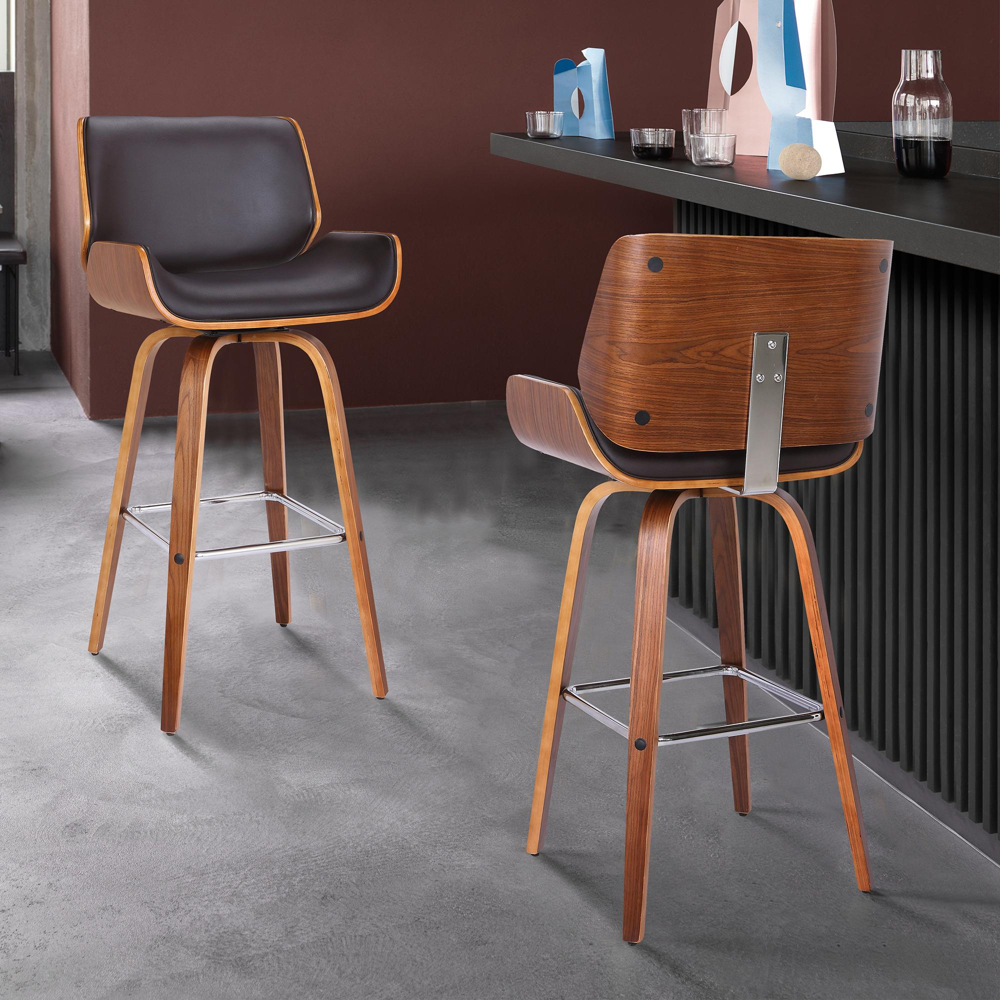 Armen Living Tyler 26' Mid-Century Swivel Counter Height Barstool in Brown Faux Leather with Walnut Veneer