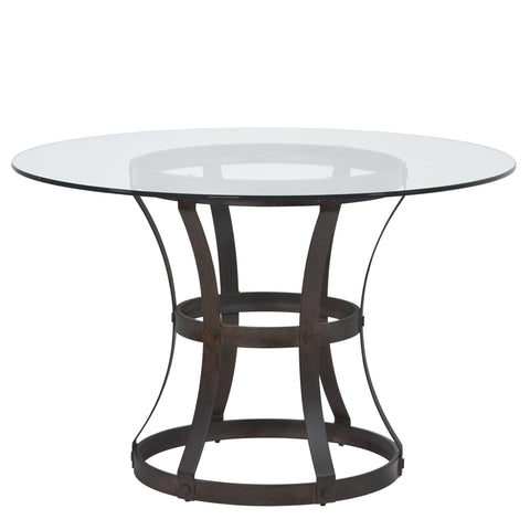 Armen Living Vancouver Round Dining Table in Auburn Bay Finish and 48' Glass Top