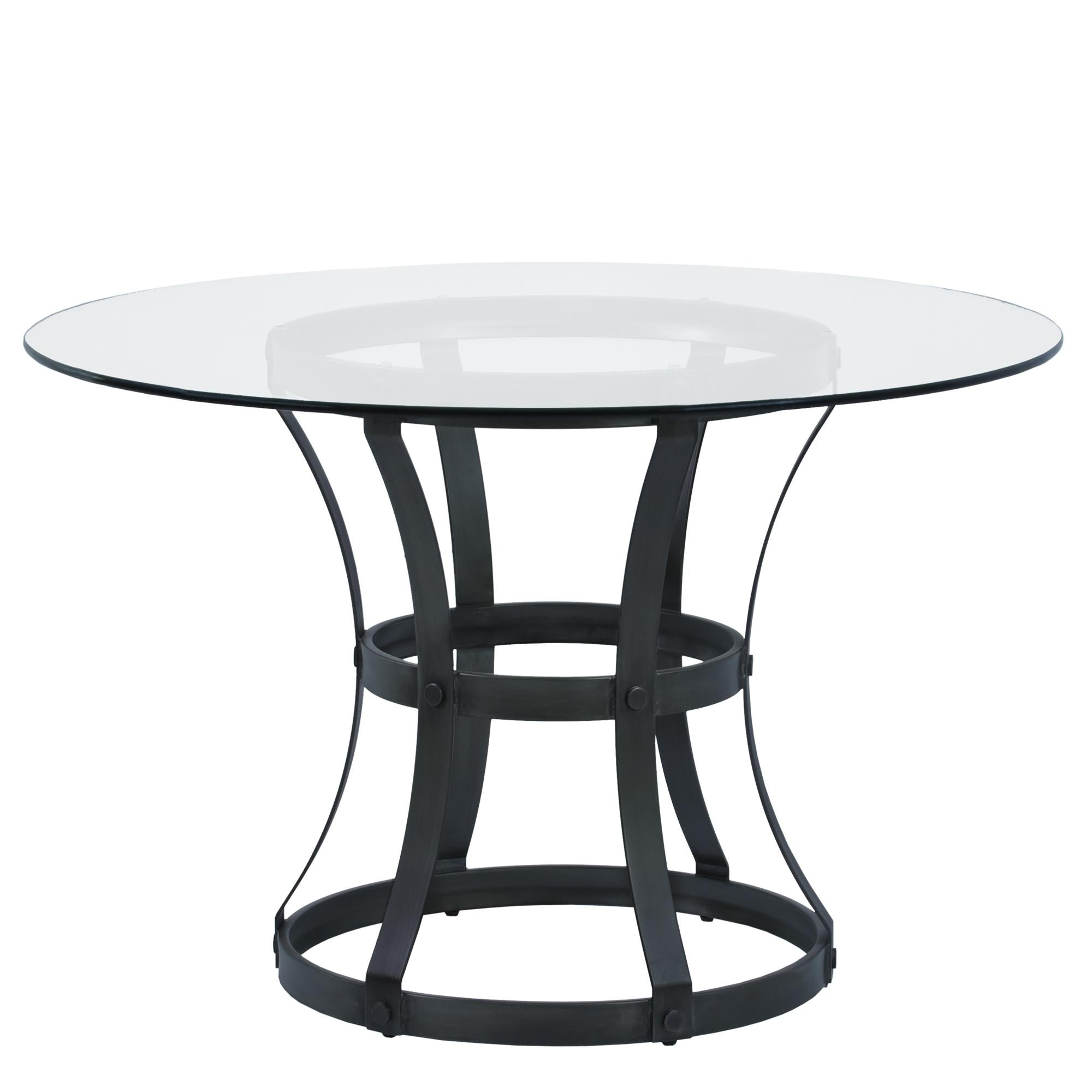 Armen Living Vancouver Round Dining Table in Mineral Finish and 48' Glass Top