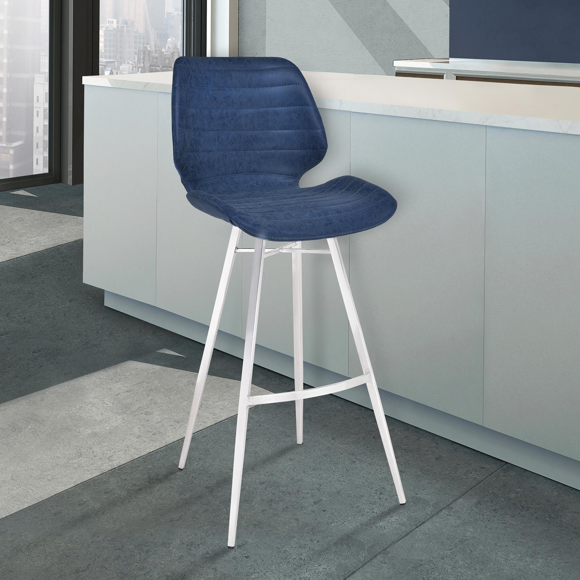 Armen Living Valor 30' Bar Height Barstool in Brushed Stainless Steel with Dark Vintage Blue Faux Leather