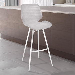 Armen Living Valor 26' Counter Height Barstool in Brushed Stainless Steel with Light Vintage Grey Faux Leather
