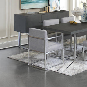Armen Living Warwick Contemporary Dining Chair in Brushed Stainless Steel Finish with Grey Fabric
