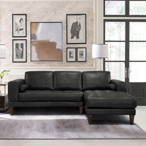 Armen Living Wynne Contemporary Sectional in Genuine Black Leather with Brown Wood Legs