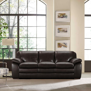 Armen Living Zanna Contemporary Sofa in Genuine Dark Brown Leather with Brown Wood Legs