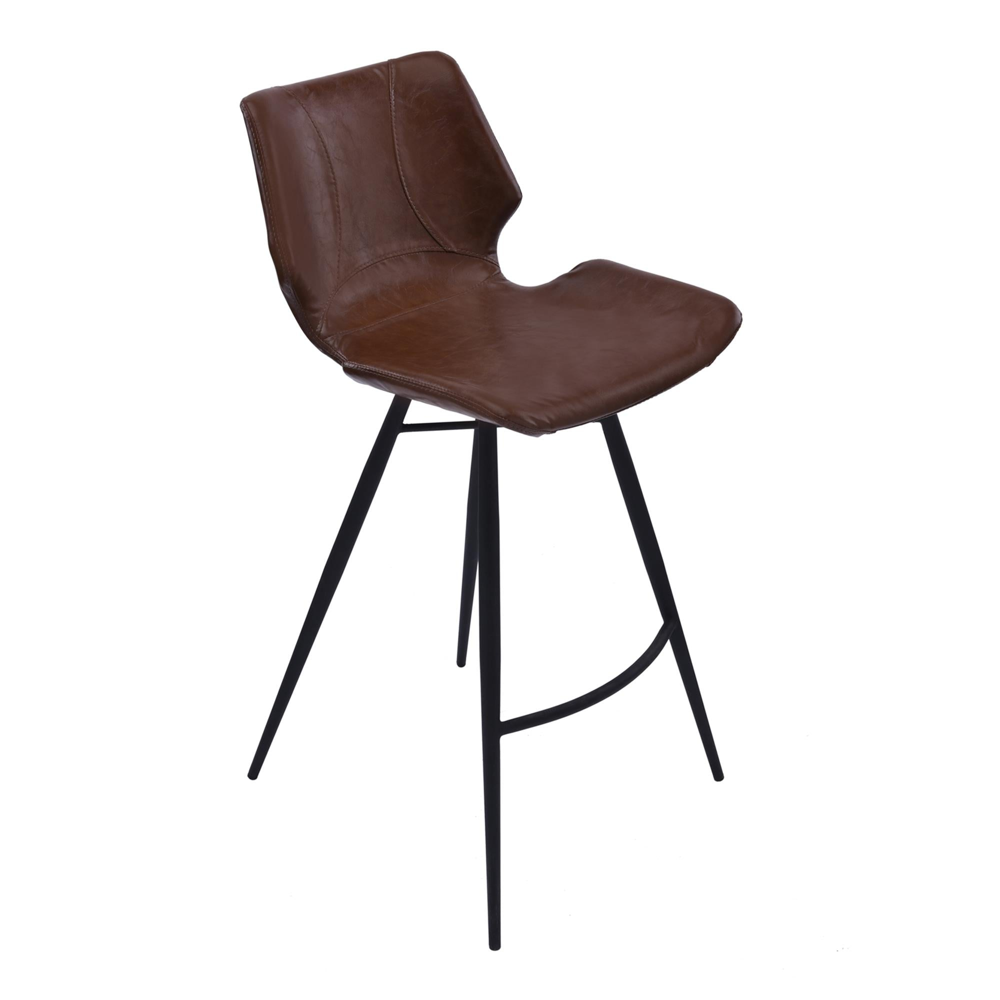 Armen Living Zurich 30' Bar Height Metal Barstool in Vintage Coffee Pu and Black Metal Finish