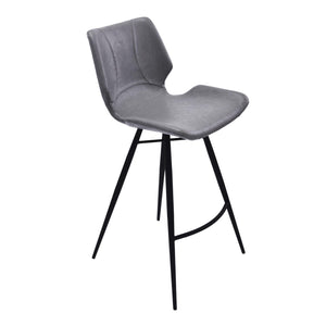 Armen Living Zurich 26' Counter Height Metal Barstool in Vintage Gray Pu and Black Metal Finish