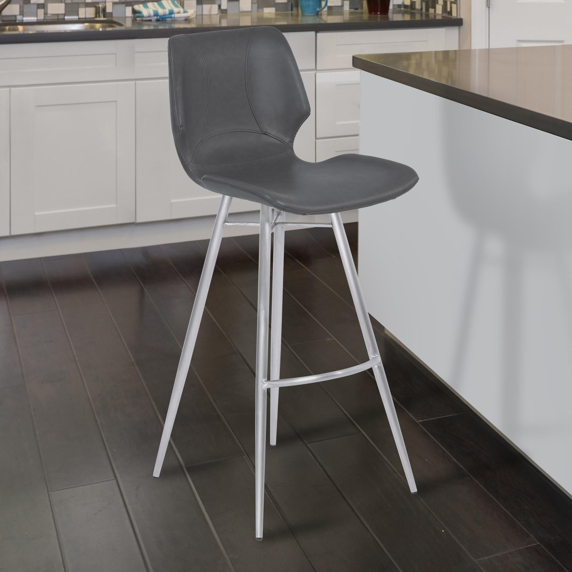 Armen Living Zurich 26' Counter Height Metal Barstool in Vintage Gray Faux Leather with Brushed Stainless Steel Finish
