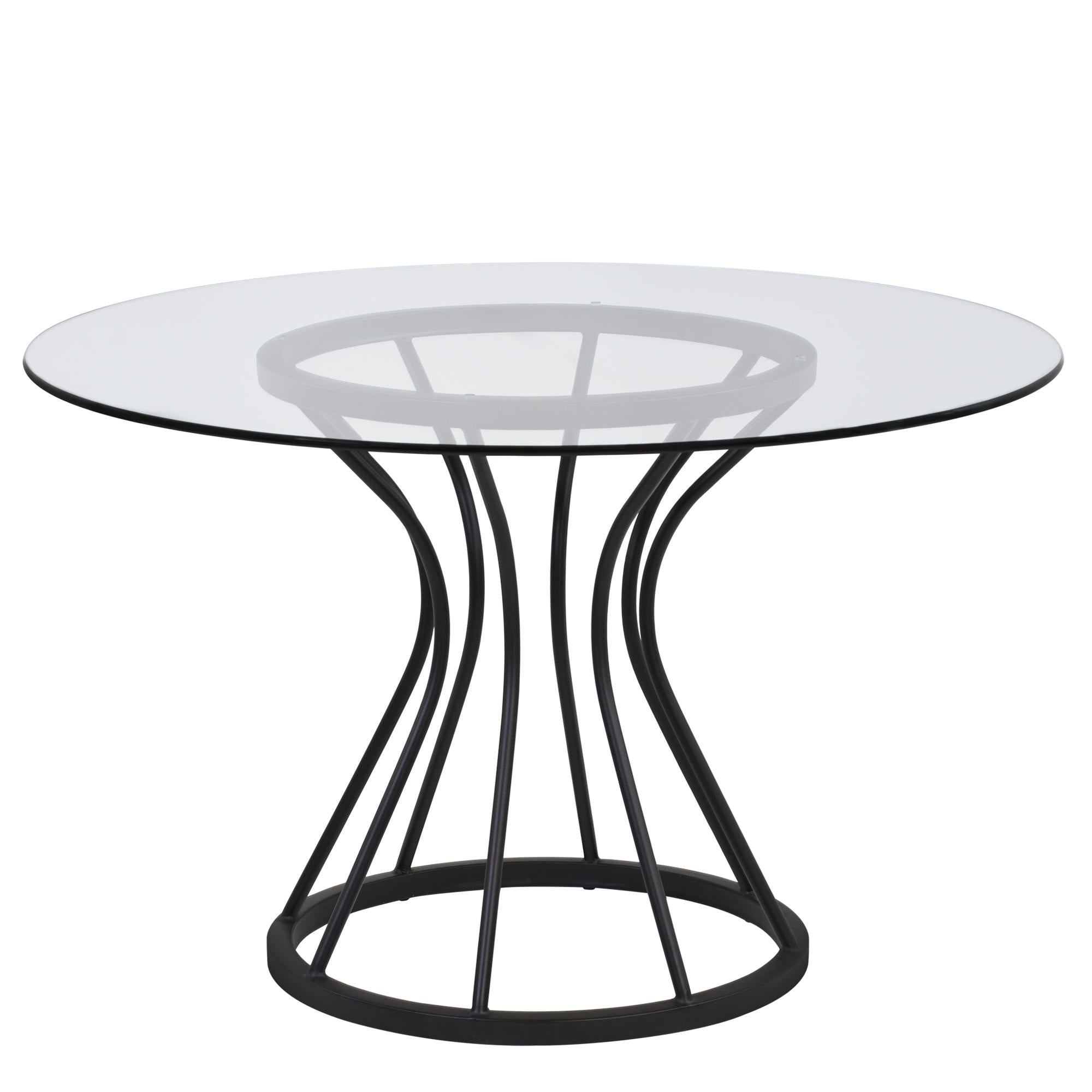 Armen Living Zurich Round Dining Table in Black Finish and 48' Glass Top
