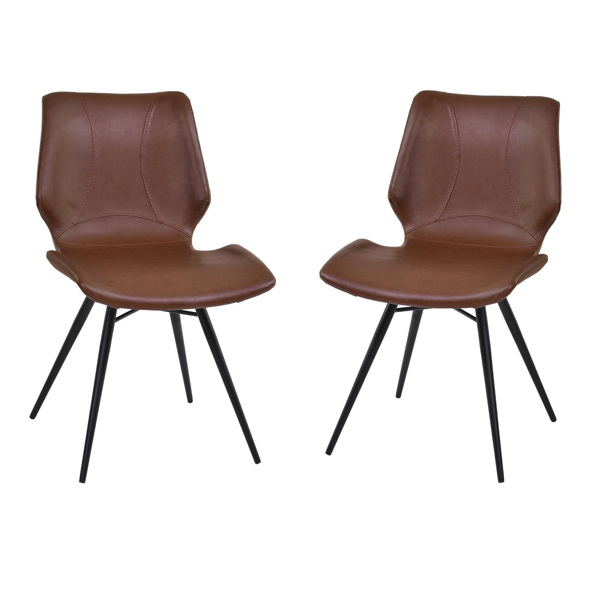 Armen Living Zurich Dining Chair in Vintage Coffee Pu and Black Metal Finish (Set of 2)