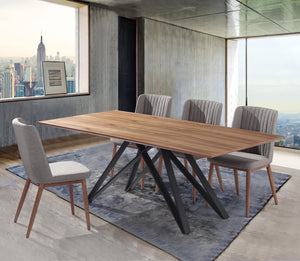Wade Mid-Century Walnut Wood 5 Piece Dining Set