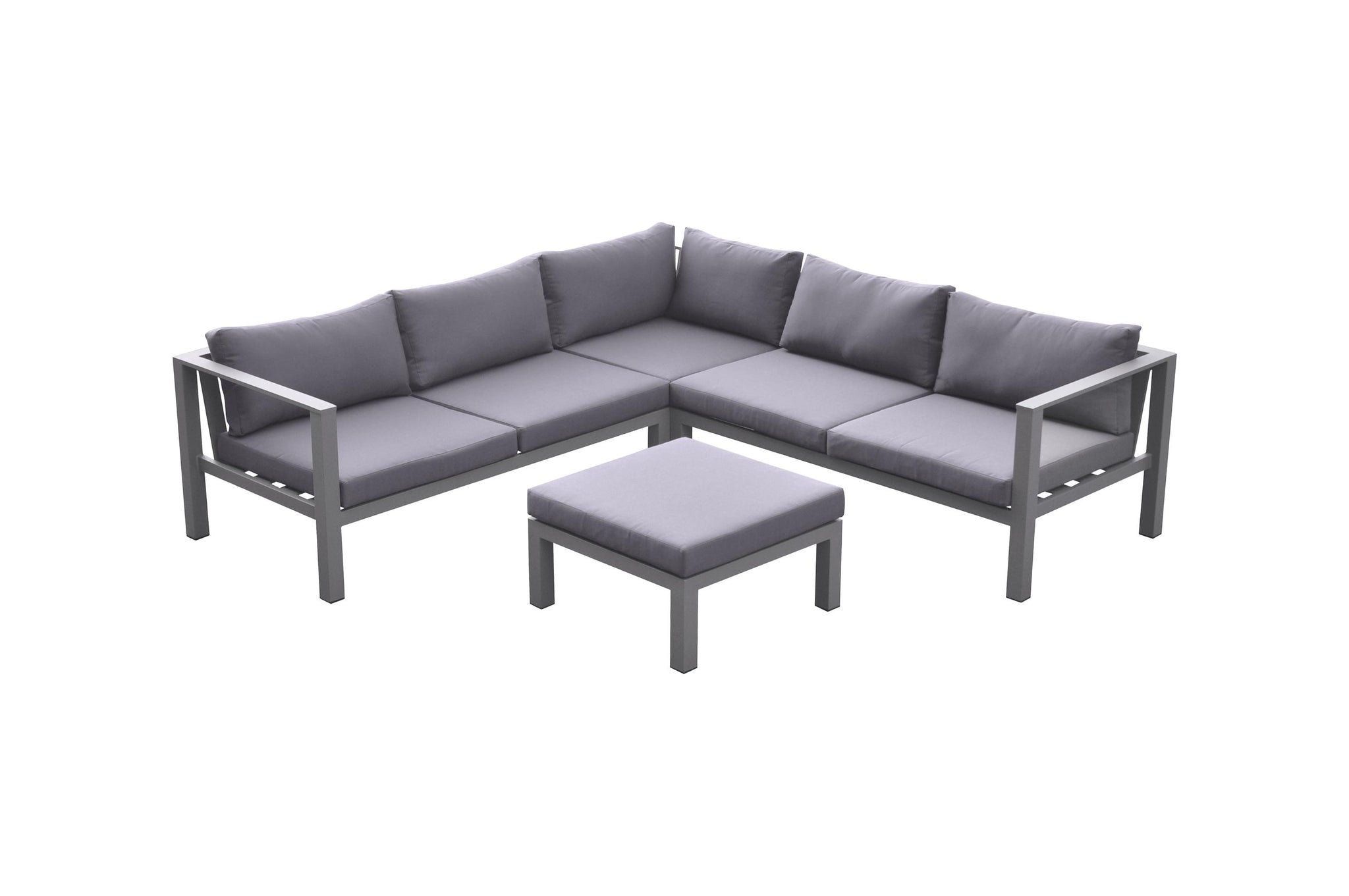 Armen Living Cliff Outdoor Patio Aluminum Sectional in Grey Powder Coated Finish with Grey Fabric Cushions