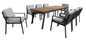 Armen Living Nofi Outdoor Patio Dining Set in Gray Finish with Taupe Cushions (Table with 8 chairs)
