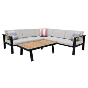 Armen Living Nofi Outdoor Patio Sectional Set in Gray Finish with Taupe Cushions and Teak Wood