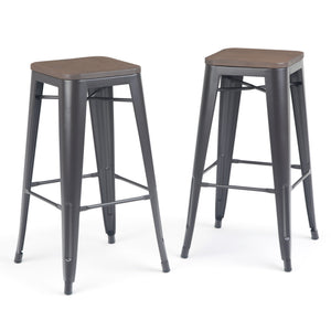 Everett 30 inch Metal Bar Stool with Wood (Set of 2) in Cocoa Brown
