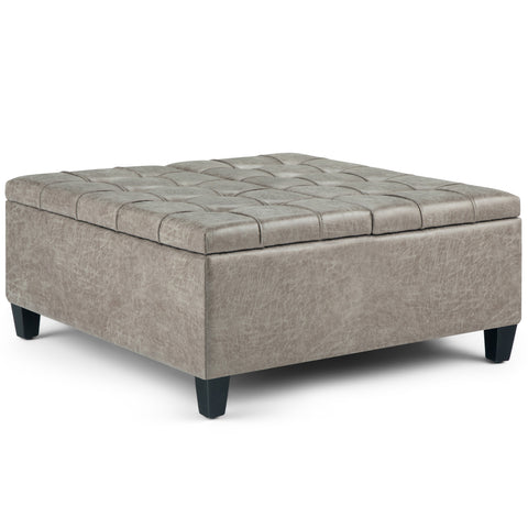 Harrison Coffee Table Ottoman in Distressed Grey Taupe Air Faux Leather