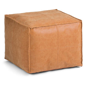 Brody Faux Leather Square Pouf in Distressed Brown