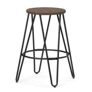 Simeon 24 inch Metal Counter Height Stool with Wood Seat in Black and Cocoa Brown