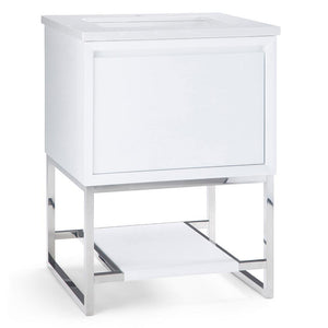 Hardy 24 inch Bath Vanity in White with Marbled White Engineered Marble Top
