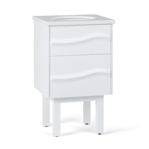 Marlowe 20 inch Bath Vanity in White with White Engineered Marble Top