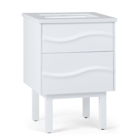 Marlowe 24 inch Bath Vanity in White with White Engineered Marble Top
